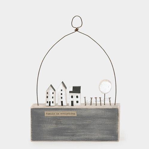 Hanging wooden scene