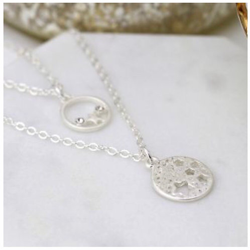 Silver plated double layer necklace