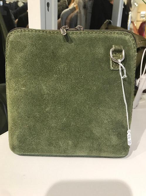 Army Green Suede Crossbody Bag