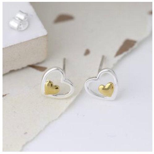 Sterling silver & gold stud earrings