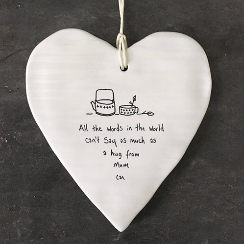 East of India Porcelain Hanging Heart