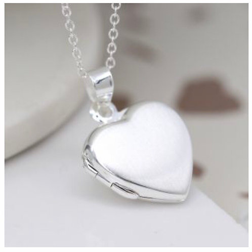 Sterling silver brushed heart locket