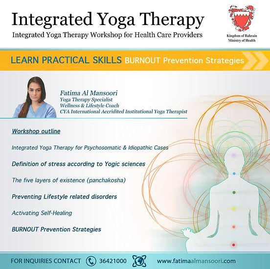 Integrated Yoga Therapy for doctors yoga speaker influncer motivator fatima al mansoori yoga ambassador mindfulness conference bahrain influncer