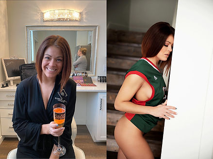 Wisconsin Boudoir photography before and after, champagne drinking