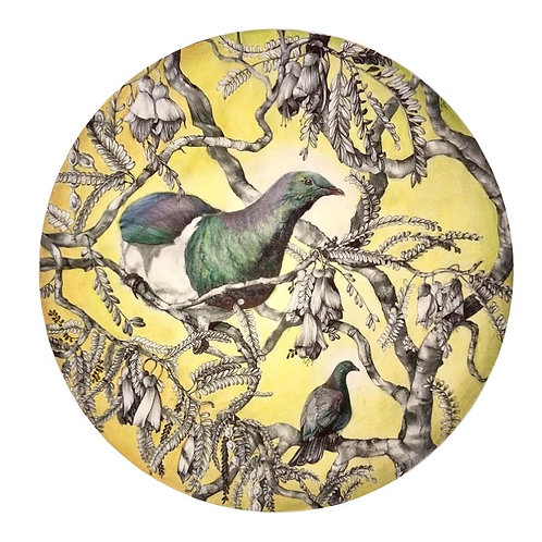 Kereru and Kowhai blooms (small) print