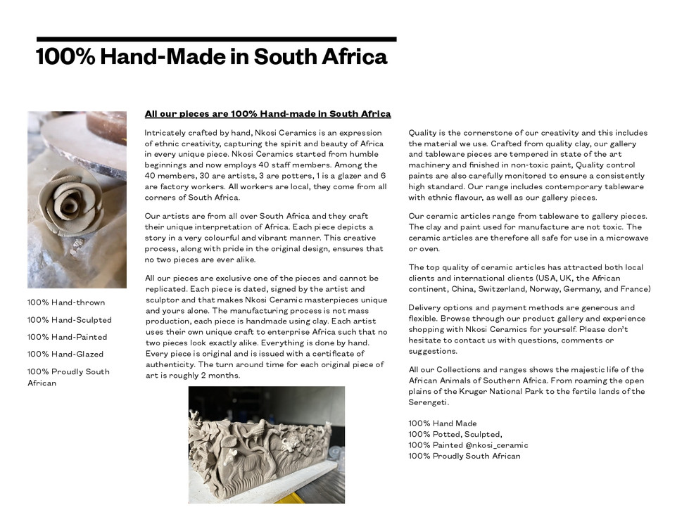 100% Hand-made in South Africa
