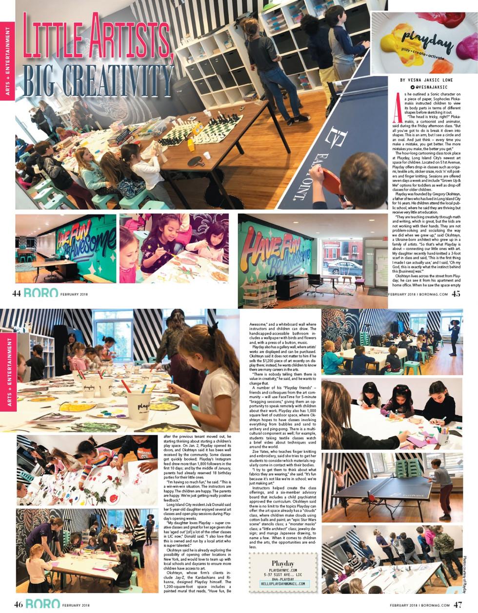 LITTLE ARTISTS BIG CREATIVITY BORO MAGAZINE FEBRAURY 2018