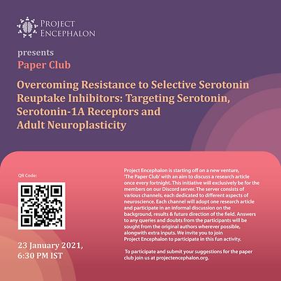 Paper Club: Overcoming resistance to selective serotonin reuptake inhibitors: Targetting Serotonin-1A receptors and adult neuroplasticity