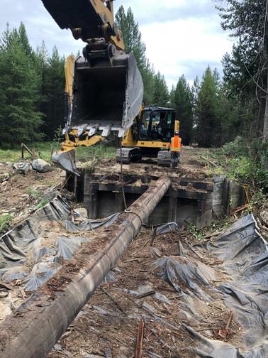 Tearing out old Big Foot CK Bridge
