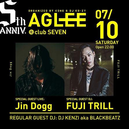 AGLEE jin dogg DJ fuji trill 新潟club club seven