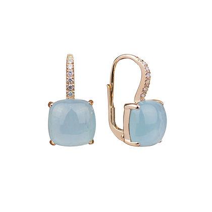 Aquamarine and Diamonds Empire Earrings