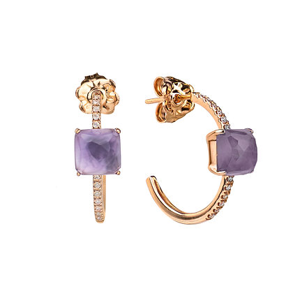 Amethyst and Diamonds Empire Earrings