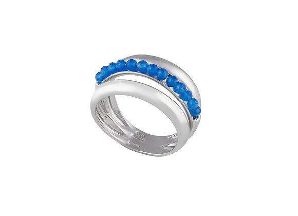 Anello Eliche Giada Blu