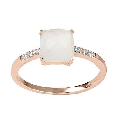 Faceted Quartz and Diamonds Empire Ring