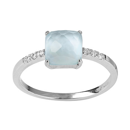 Faceted Topaz and Diamonds Empire Ring