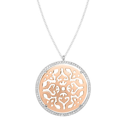 Long Mirrored Rose Gold Damasco Necklace