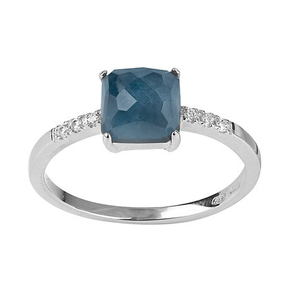 Faceted London Topaz and Diamonds Empire Ring