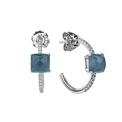 Faceted London Topaz and Diamonds Empire Earrings