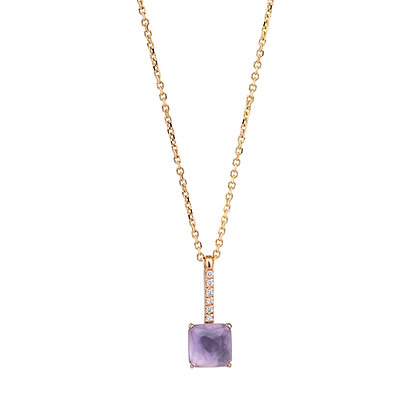 Faceted Amethyst and Diamonds Empire Necklace