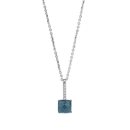 Faceted London Topaz and Diamonds Empire Necklace