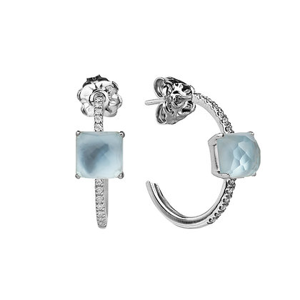 Faceted Topaz and Diamonds Empire Earrings
