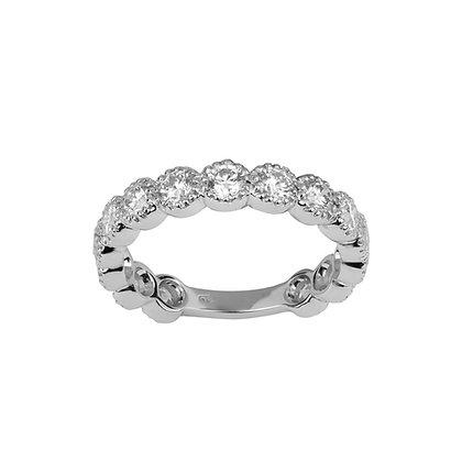 Large White Gold Smile Ring
