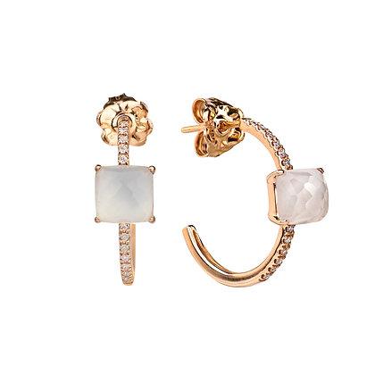 Faceted Quartz and Diamonds Empire Earrings