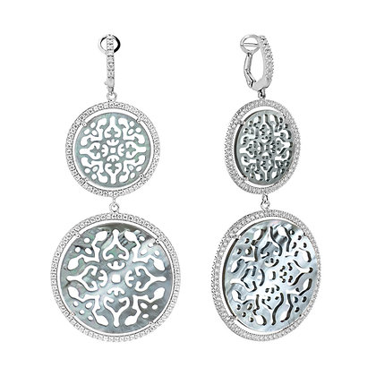 Double Diamonds Antracite Damasco Earrings