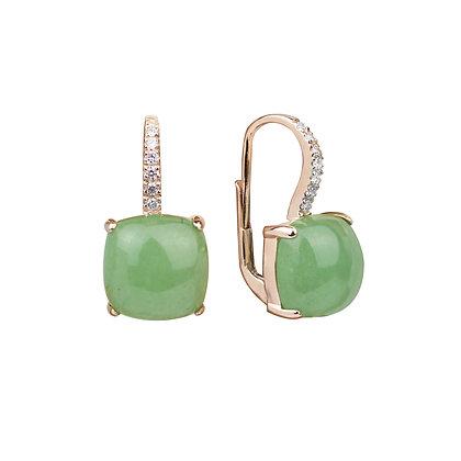 Aventurine and Diamonds Empire Earrings
