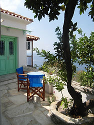 The patio of 'Bouzouki', part of the Musc House, holiday villa for rent in the Sporades.