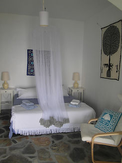 The bedroom in 'Bouzouki', part of The Music House, a holiday villa for rent on Skopelos Skiathos Sporades, Mamma Mia island.
