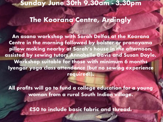 Yoga Workshop and Bolster Making Sunday 30th June 2019