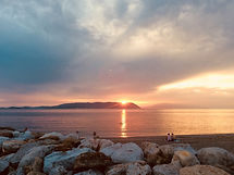 Sunset from Loutraki, Skopelos. The Musi House, villa for rent in Greece with panoramic sea views.