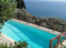The swimming pool at the Music House, Skopelos villa for rent in Greece.