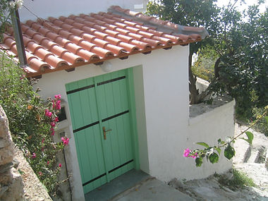 Entrance to Bouzouki, part of Th Music House,a villa for rent in Skopls, Greece.