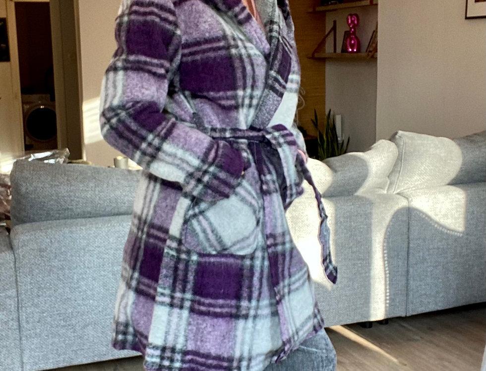 Mantel met kap grijs & paars
