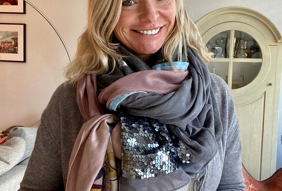 Maxi sjaal Hypnochic grijs/roze met veren