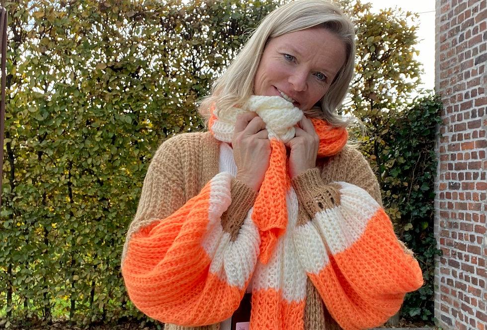 Lange sjaal oranje & ecru