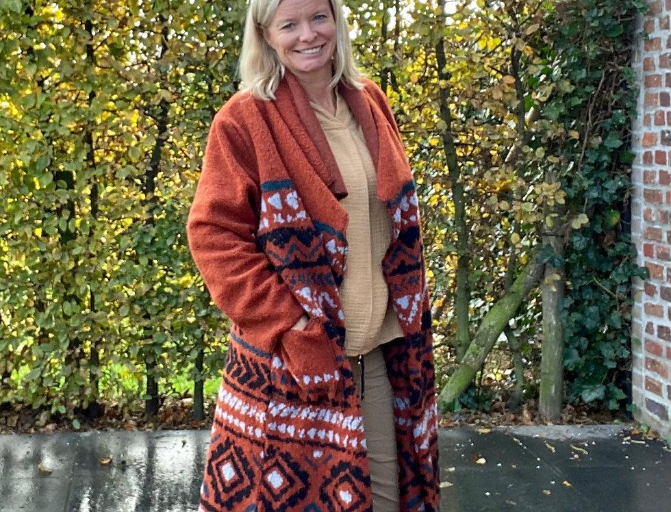 Lange vest in wol roestkleur