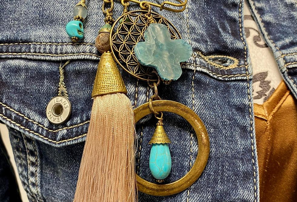 Broch SIG DE TANA beige en turquoise