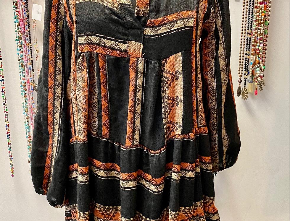 Kort kleedje Inca in katoen zwart met roestbruin
