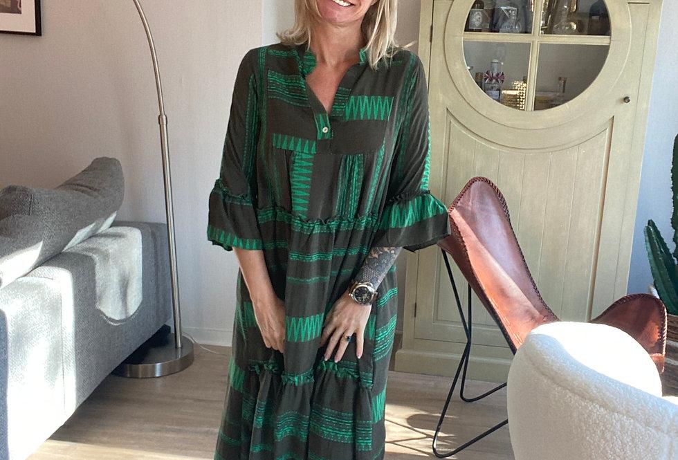 Kleed in katoen kaki met groen