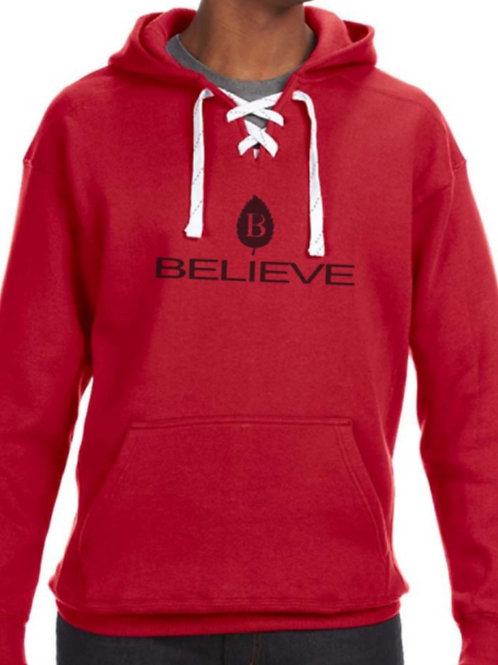 Believe Logo Lace-Up Hoodie