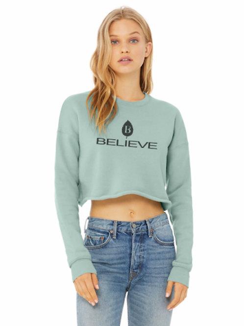 Women's Believe Logo Crop Sweater