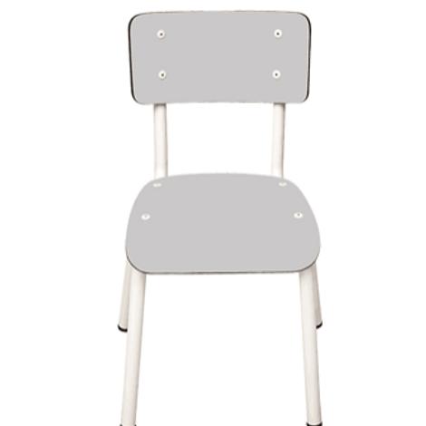 Chaise d'écolier Enfant Little Suzie – uni Gris Perle Pieds Blancs