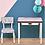 Thumbnail: Bureau d'écolier enfant Régine – uni Rose Poudré Pieds Blancs