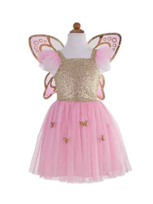Robe de papillon avec ses ailes dorées 5/7 ans