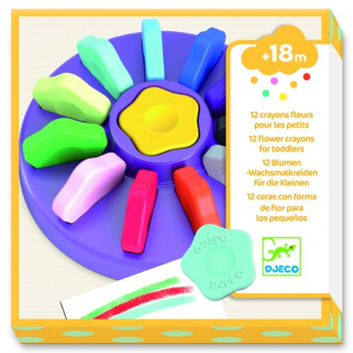 12 Crayons Fleurs pour les petits - Djeco