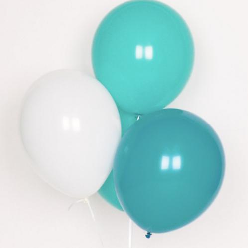 Ballons de baudruche : trio 10 ballons turquoise
