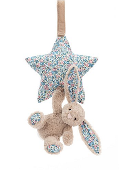 Jellycat Blossom Beige Lapin tirer musicale - 28cm